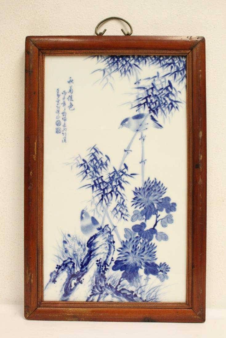 Pair Chinese framed b&w porcelain plaque - 6