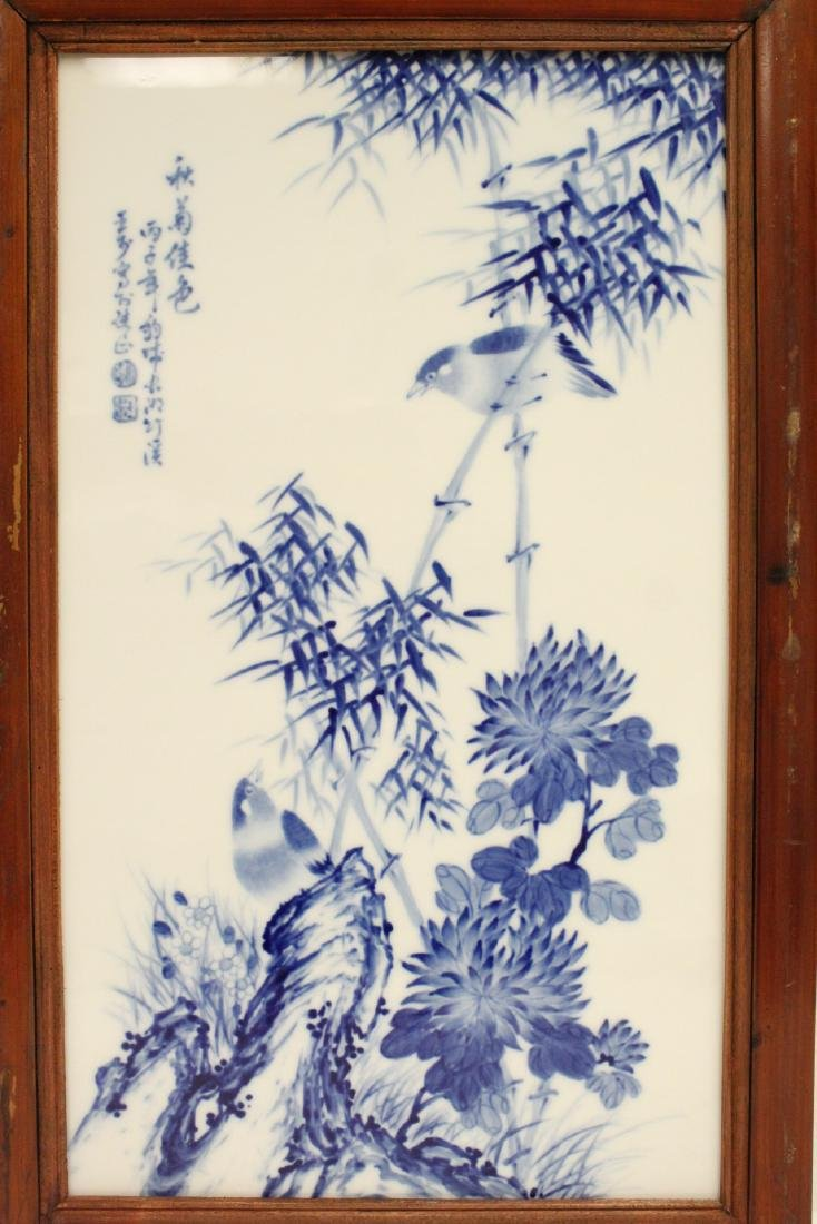 Pair Chinese framed b&w porcelain plaque - 7