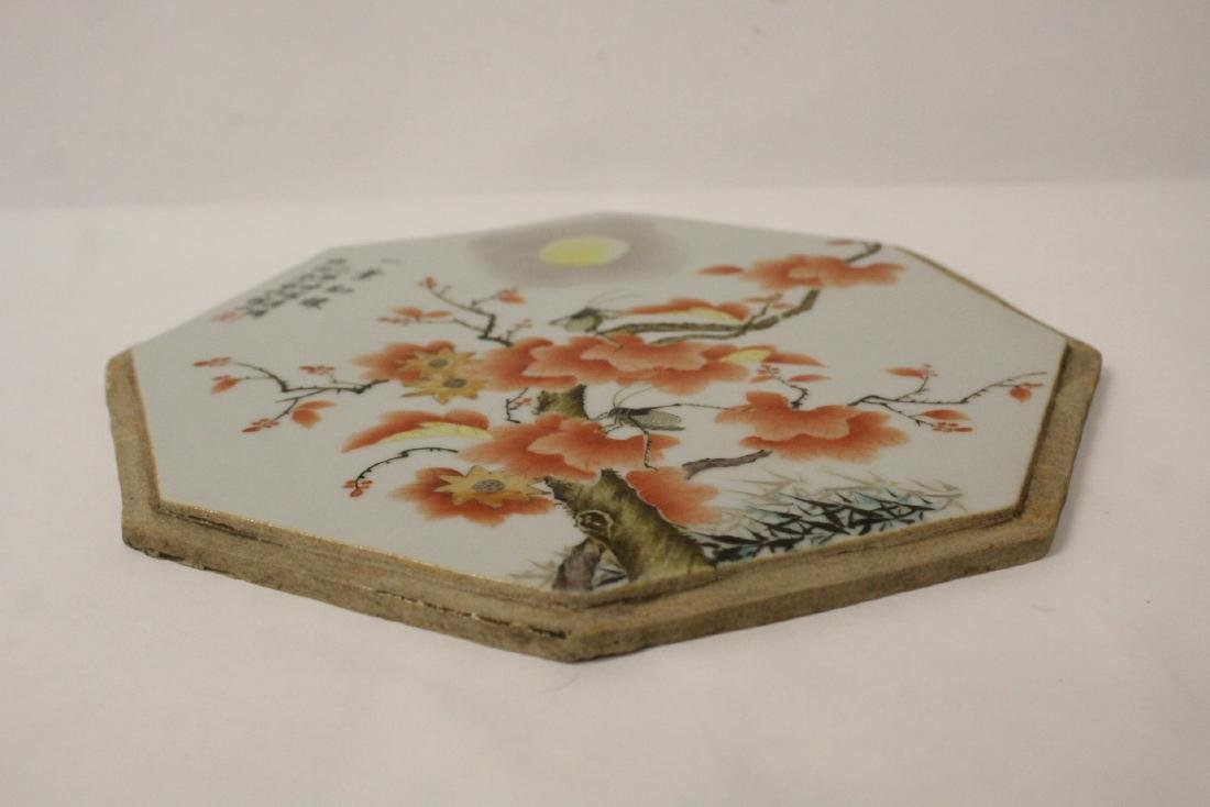 Chinese octagonal porcelain plaque - 10