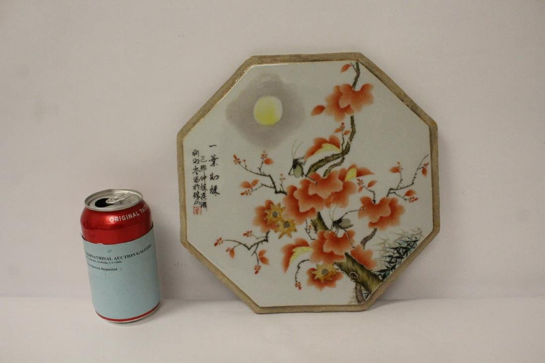 Chinese octagonal porcelain plaque - 2