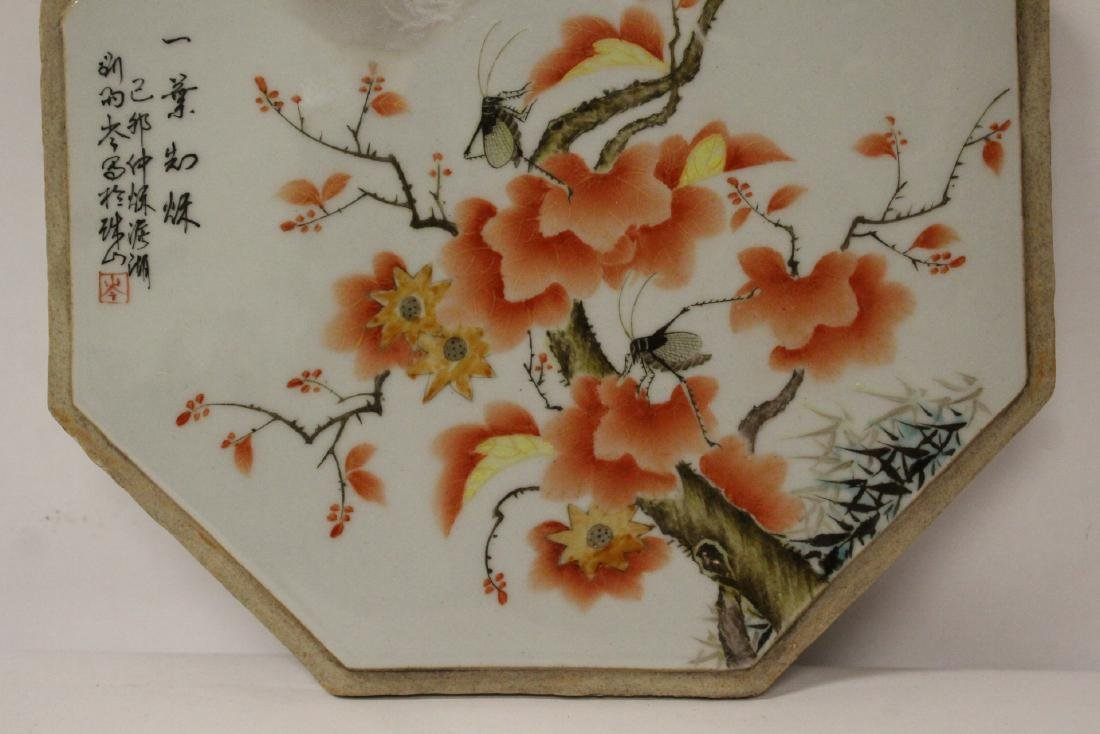 Chinese octagonal porcelain plaque - 3