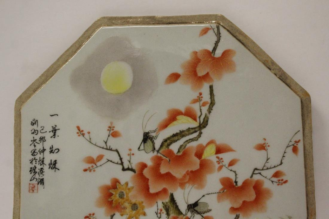 Chinese octagonal porcelain plaque - 4