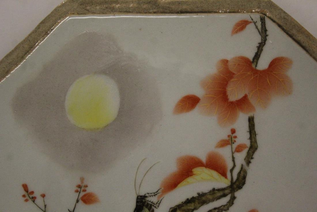 Chinese octagonal porcelain plaque - 9