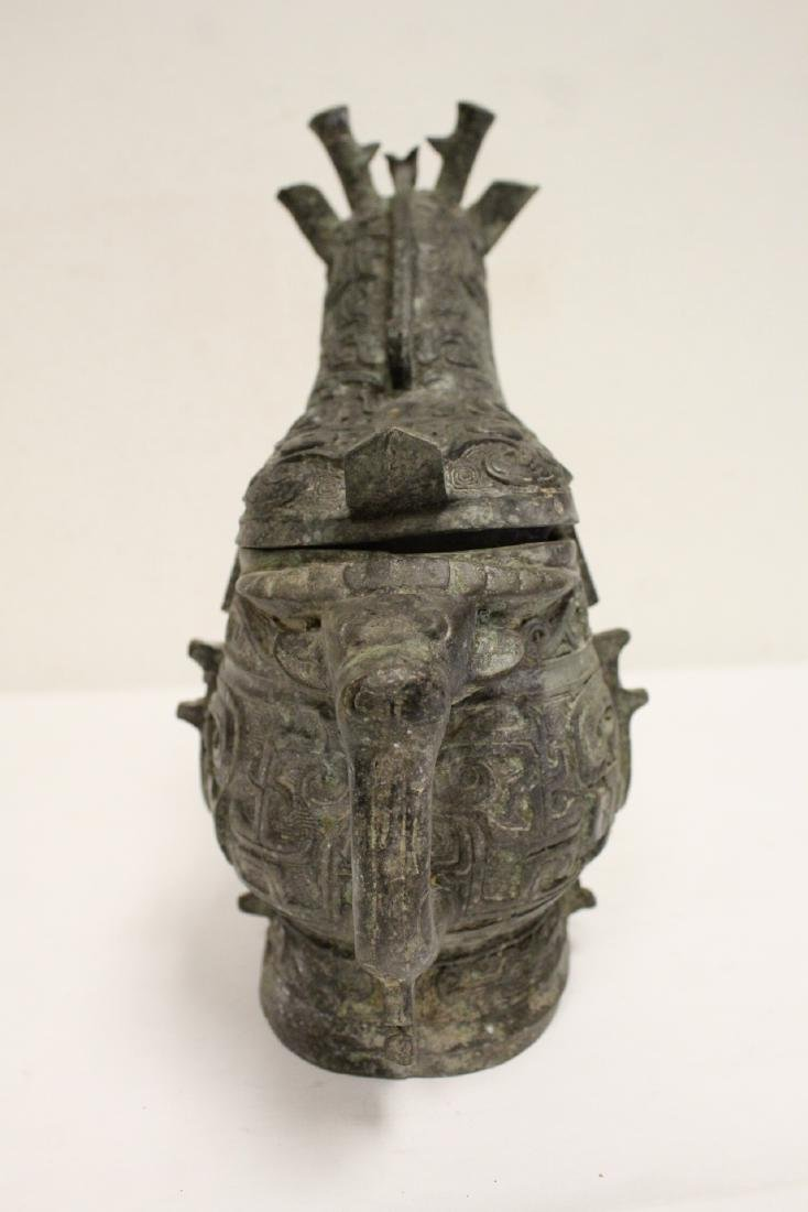 Unusual Chinese archaic style bronze wine vessel - 4