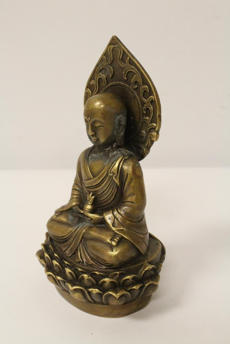 Chinese bronze Buddha statue and an inkstone - 10