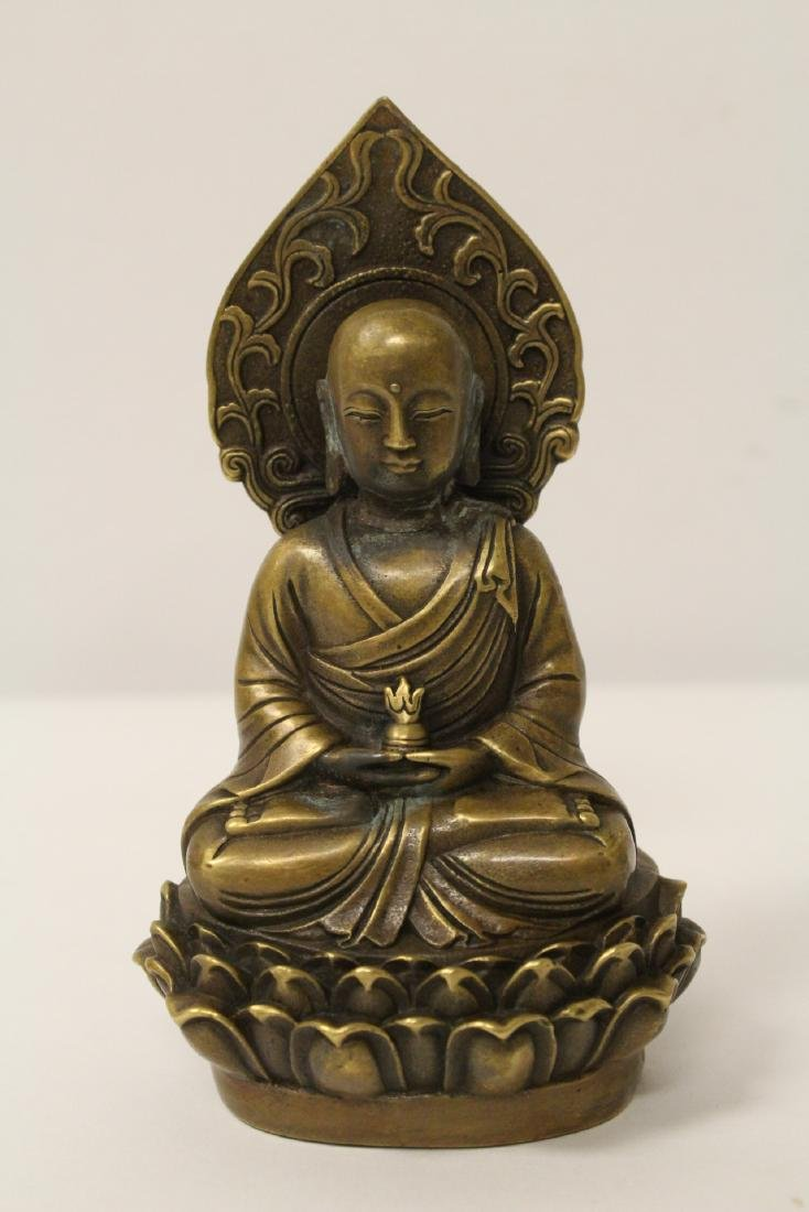 Chinese bronze Buddha statue and an inkstone - 7