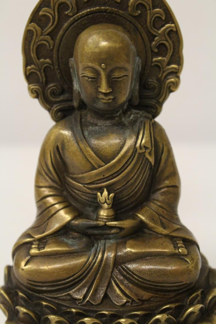 Chinese bronze Buddha statue and an inkstone - 9