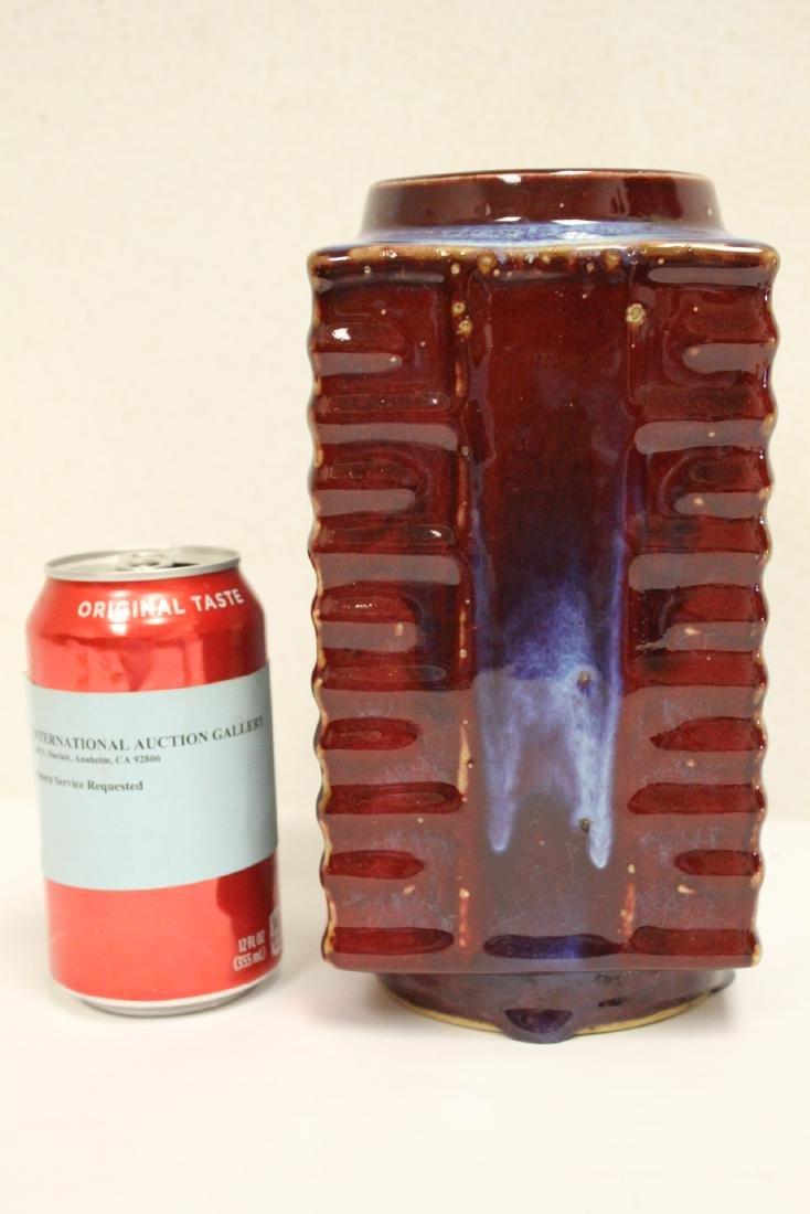 Red glazed porcelain square vase - 3