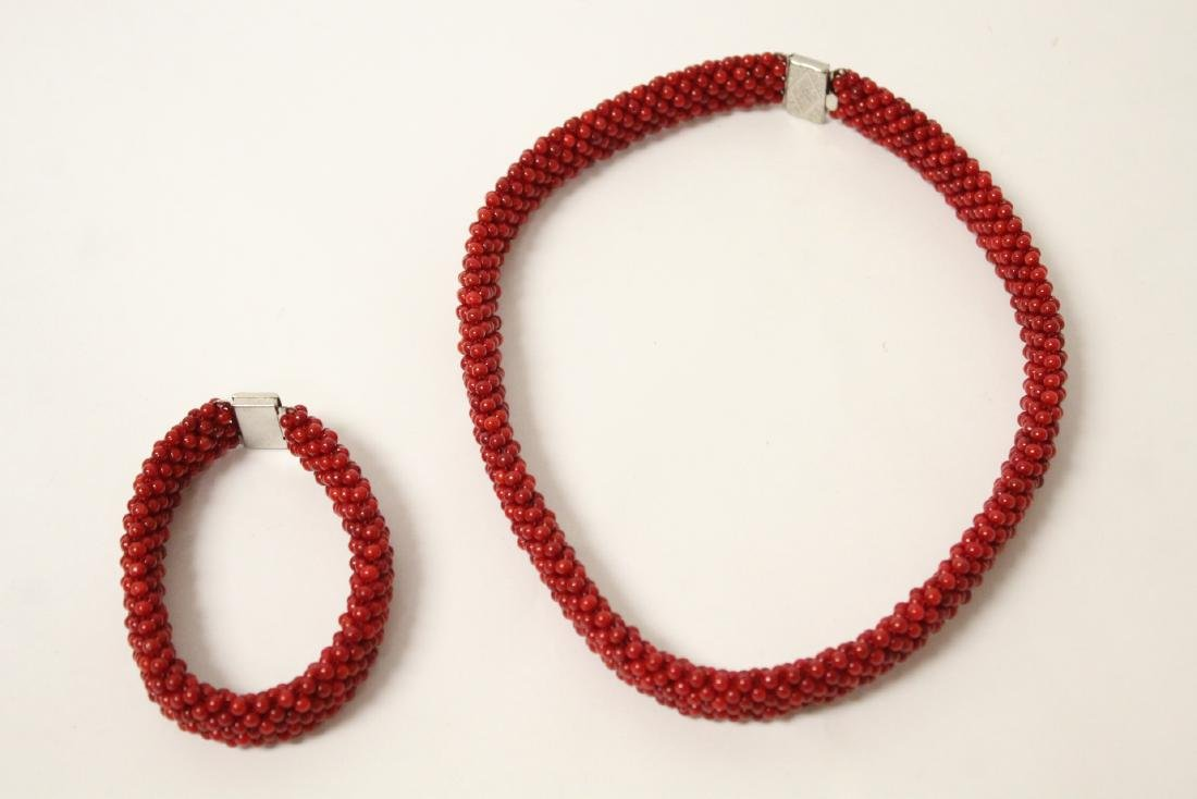 Coral like bead necklace and bracelet