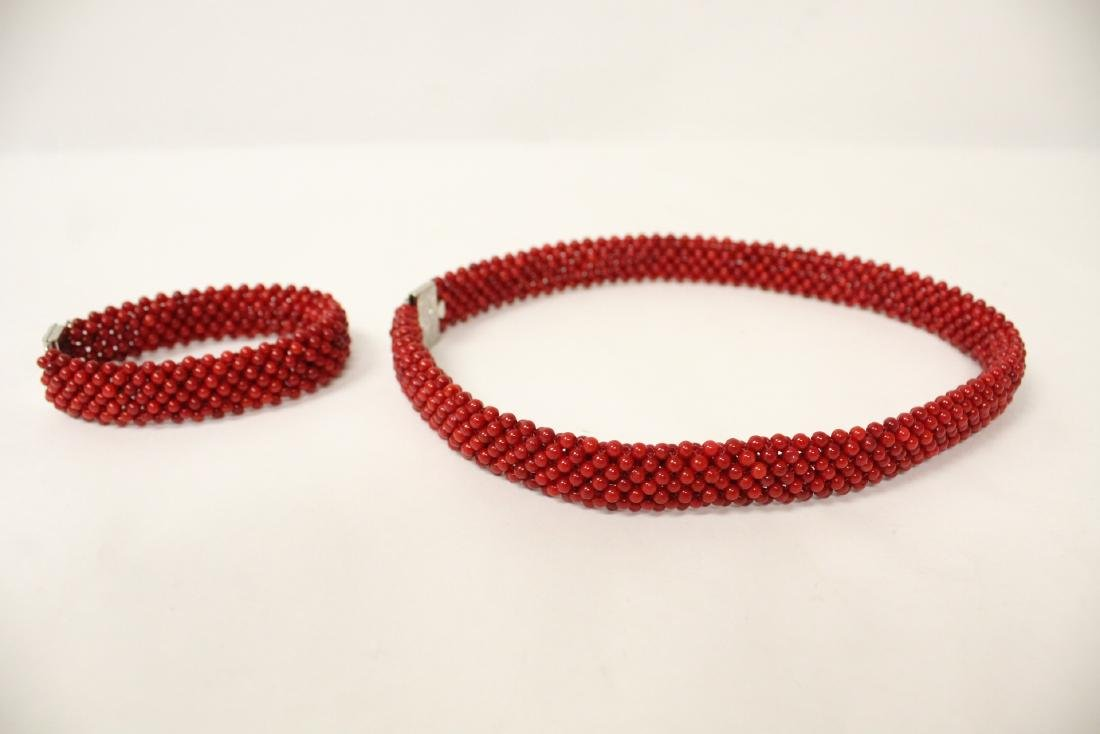 Coral like bead necklace and bracelet - 2