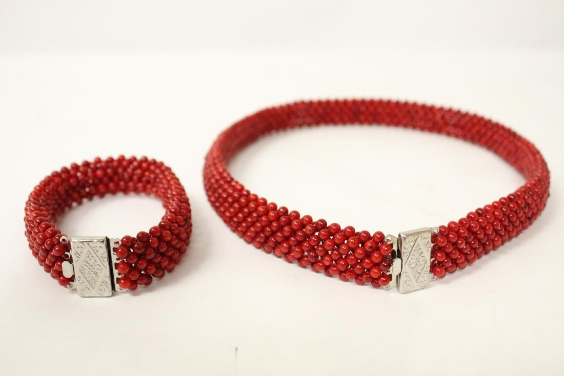 Coral like bead necklace and bracelet - 3
