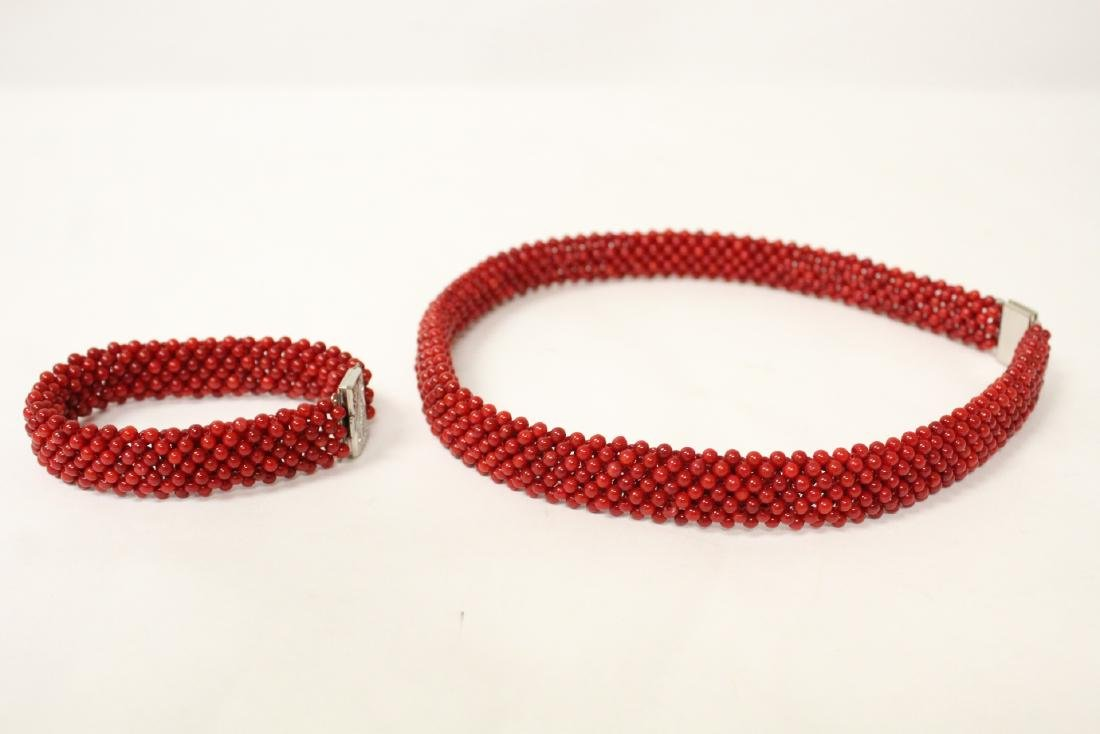 Coral like bead necklace and bracelet - 4