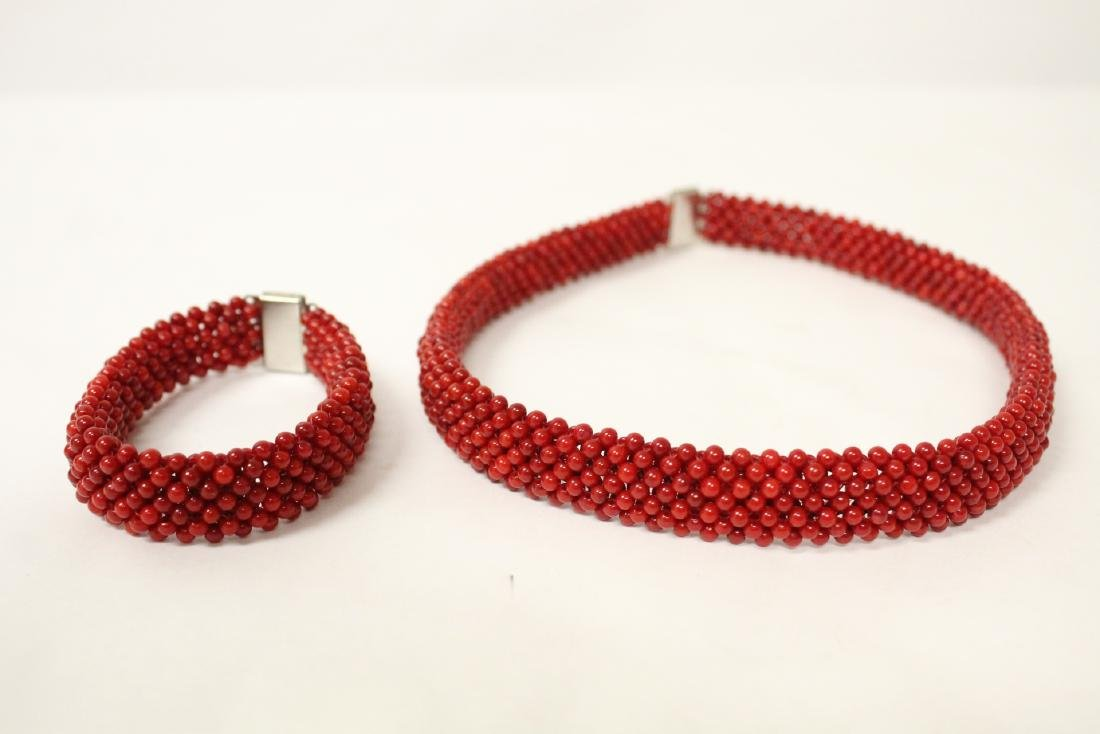Coral like bead necklace and bracelet - 5
