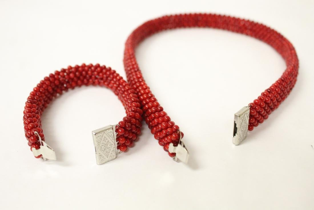 Coral like bead necklace and bracelet - 6
