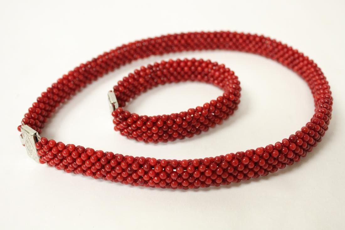 Coral like bead necklace and bracelet - 7