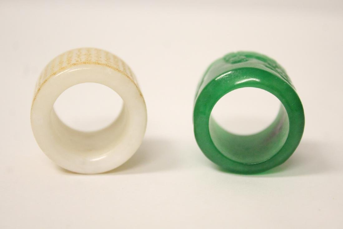 2 jade like archer's rings - 5
