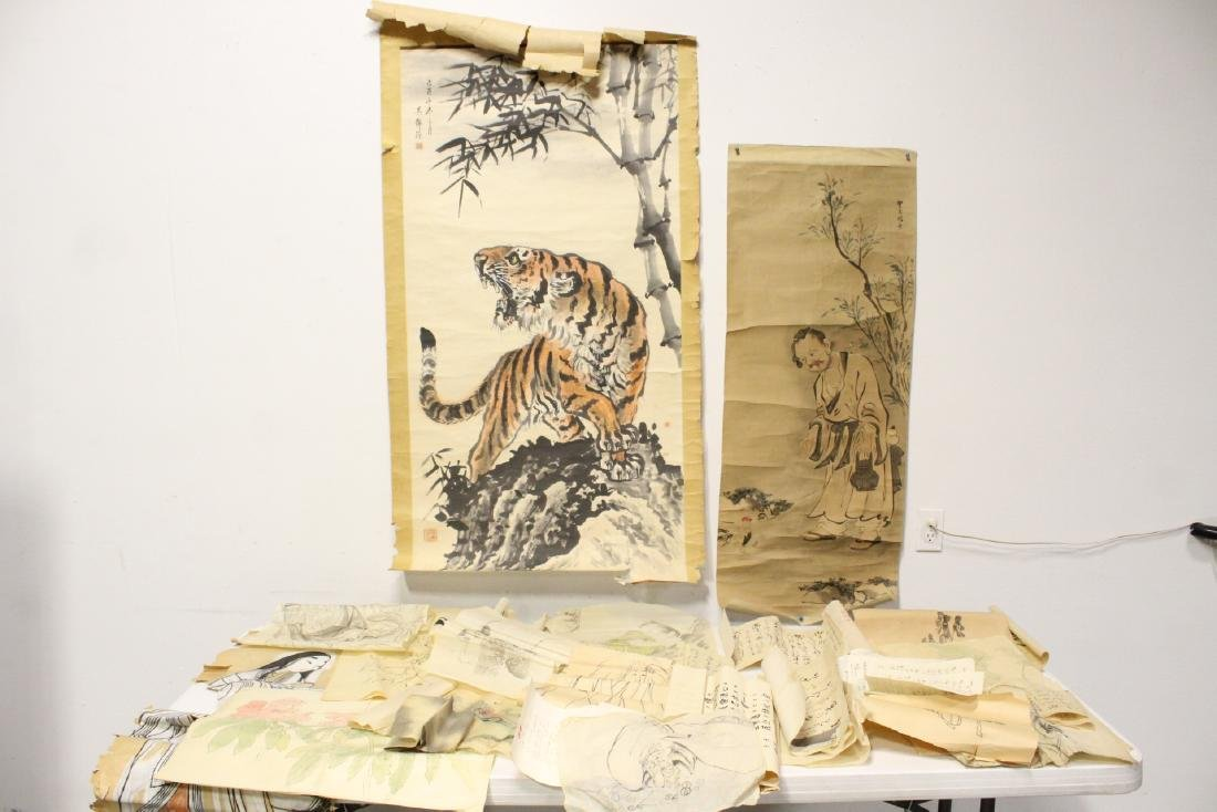 Lg lot of loose Chinese paintings, calligraphy panels