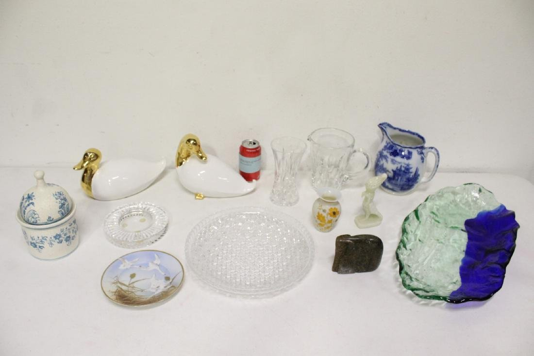 13 pieces porcelain crystal and art glasses