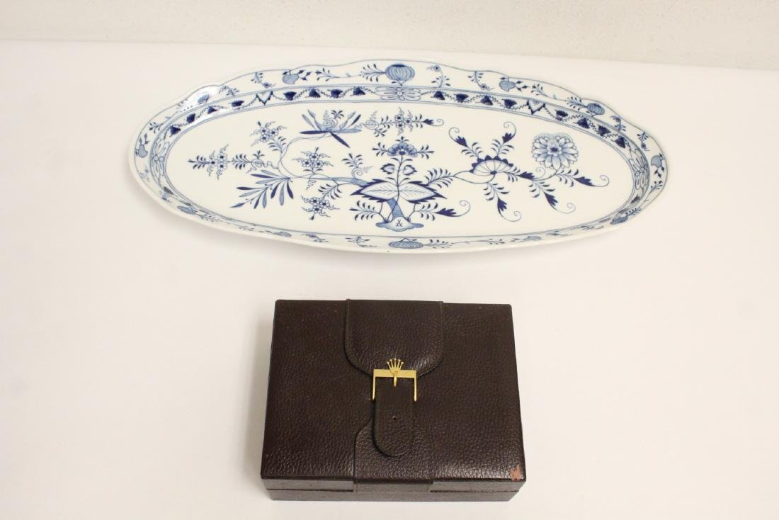 Large Meissen fish plate and a Rolex watch box