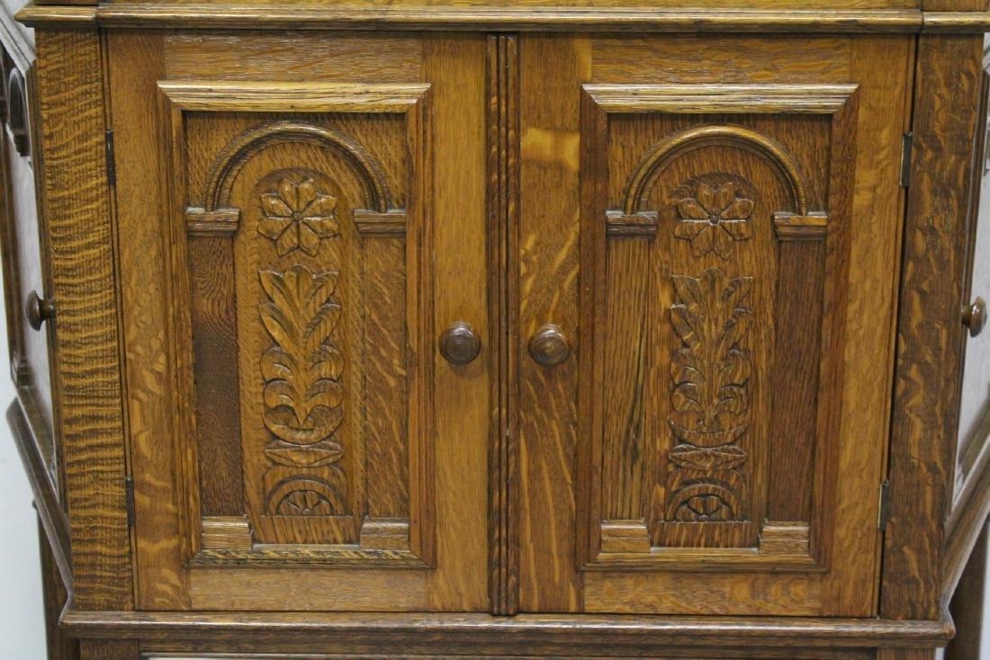 Victorian tiger oak cabinet - 10