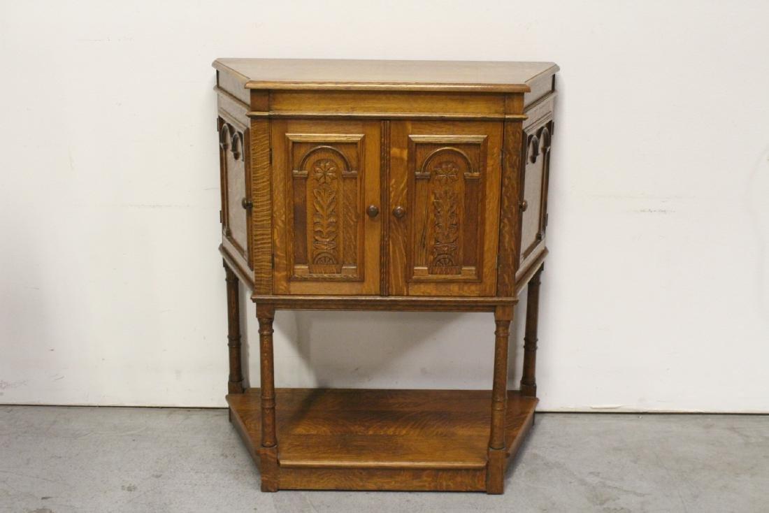 Victorian tiger oak cabinet