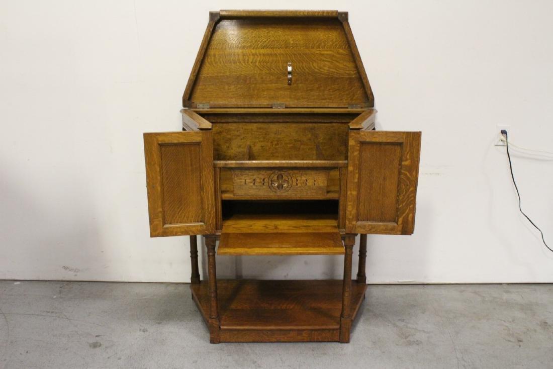 Victorian tiger oak cabinet - 2