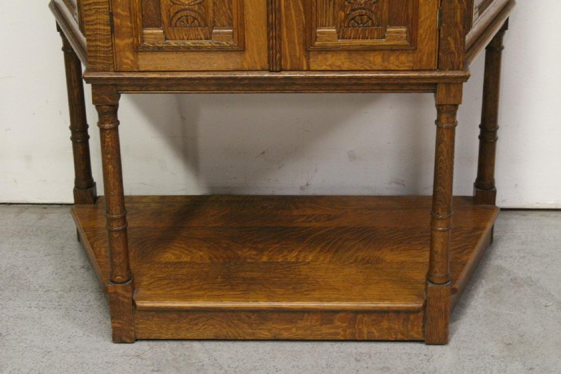 Victorian tiger oak cabinet - 4