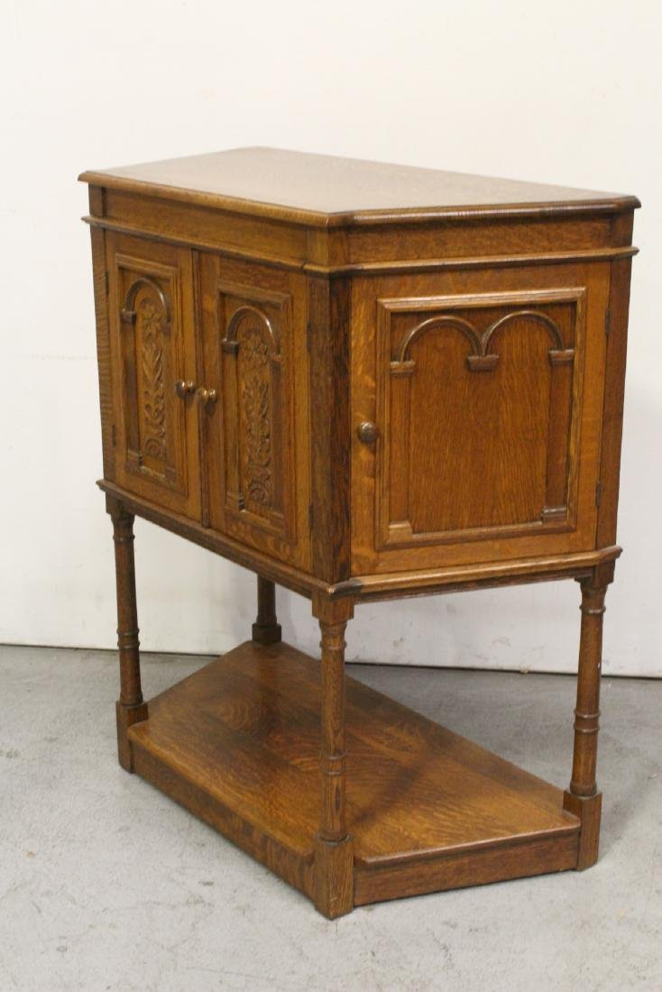 Victorian tiger oak cabinet - 5
