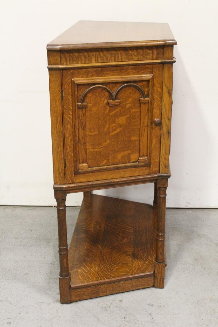 Victorian tiger oak cabinet - 7
