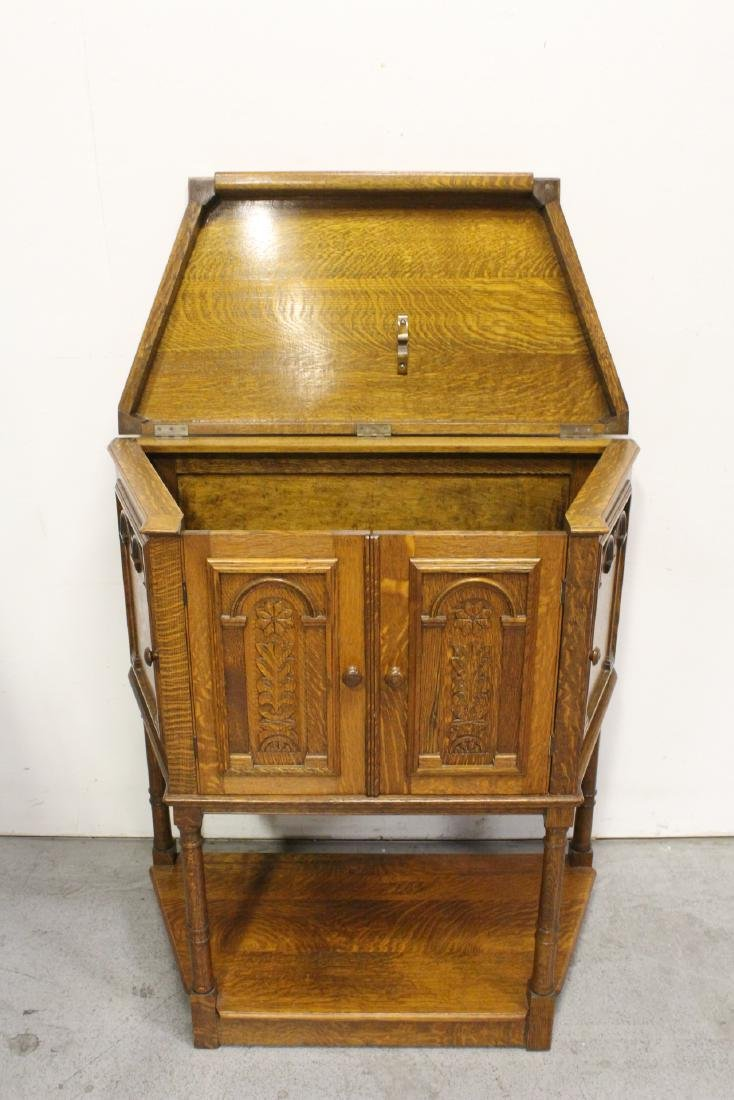 Victorian tiger oak cabinet - 9