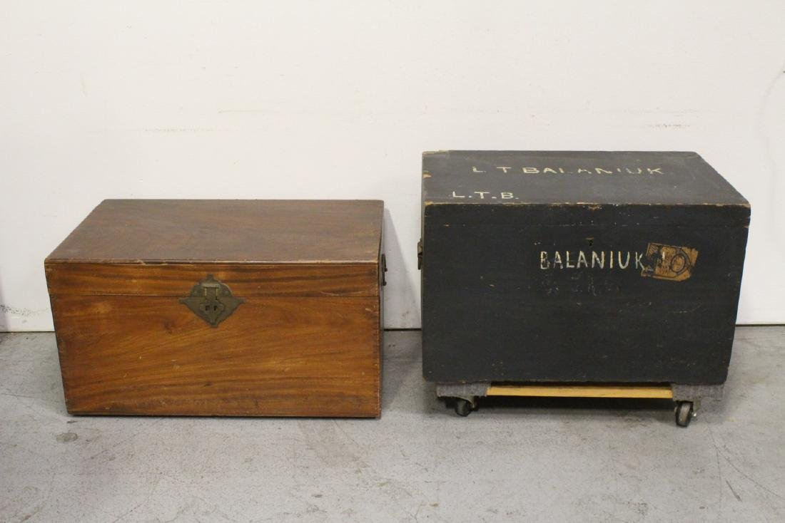 Mahogany trunk, and a painted wood trunk