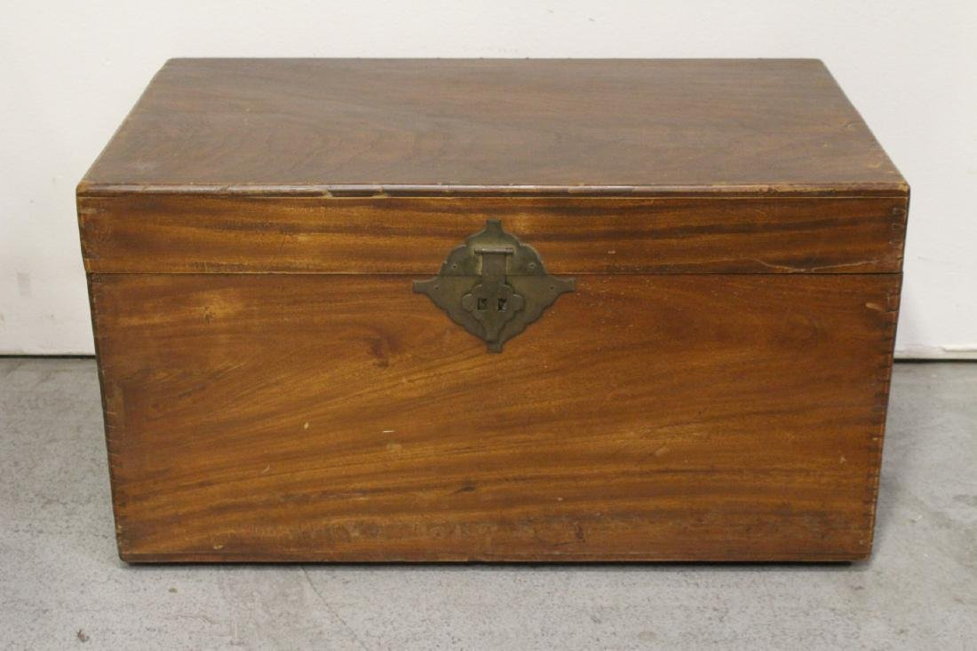 Mahogany trunk, and a painted wood trunk - 6