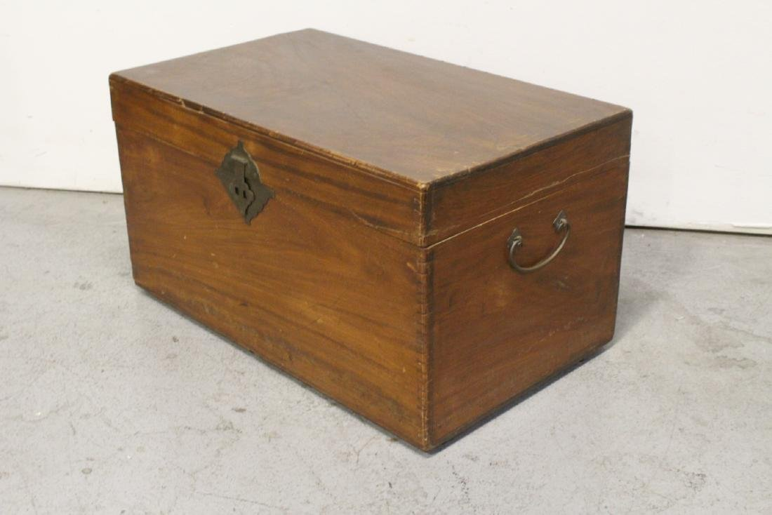 Mahogany trunk, and a painted wood trunk - 8