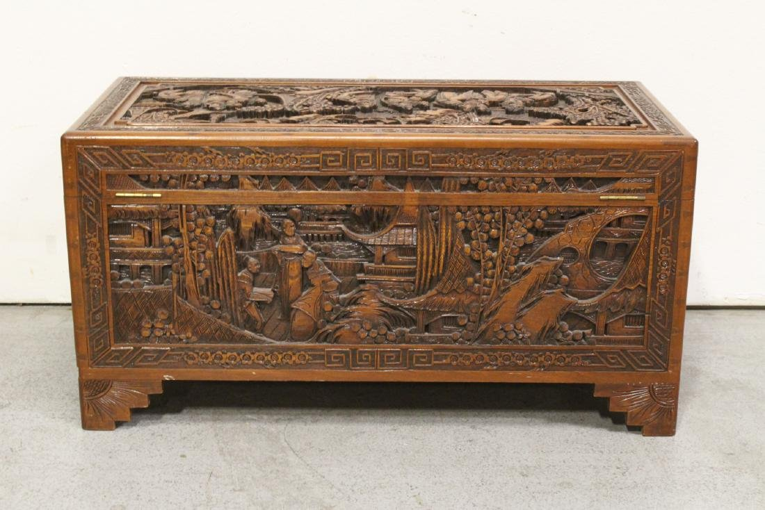 Antique Chinese carved camphor wood trunk - 10