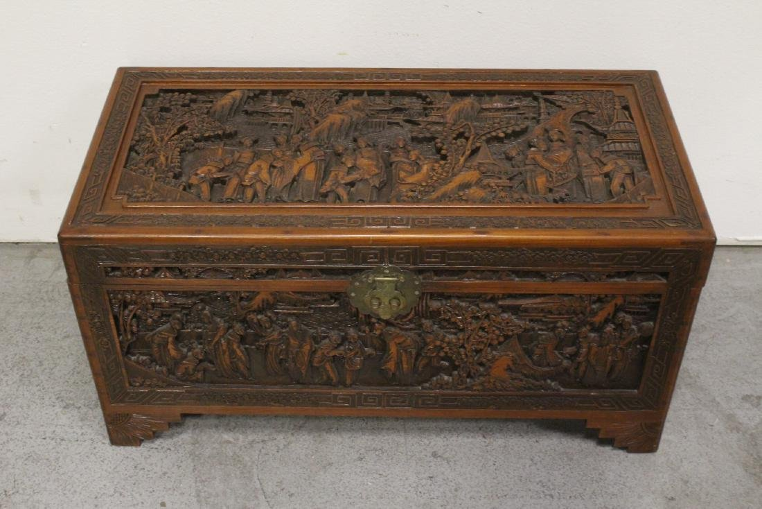 Antique Chinese carved camphor wood trunk