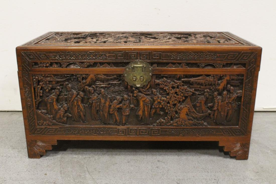 Antique Chinese carved camphor wood trunk - 2