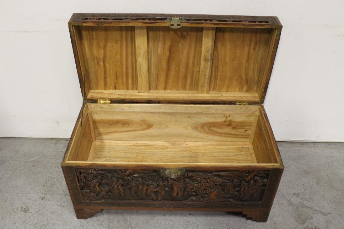 Antique Chinese carved camphor wood trunk - 3