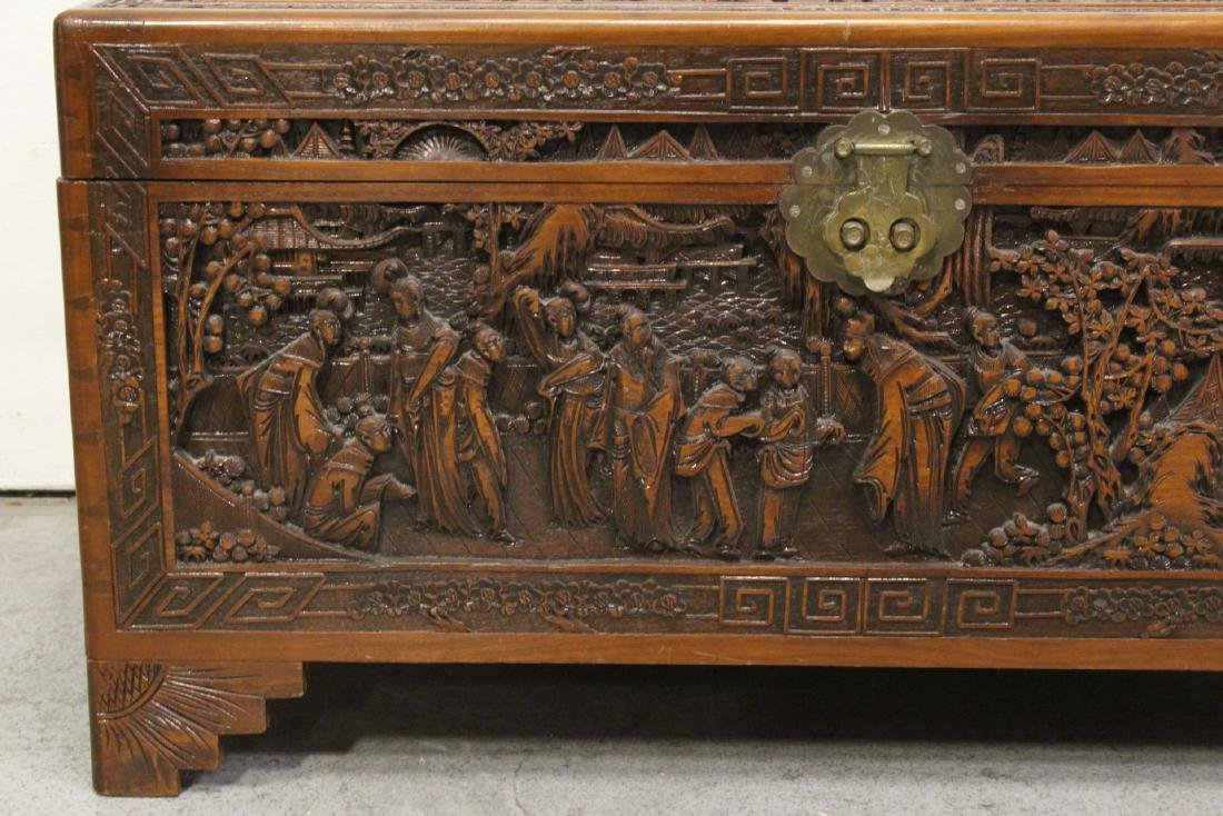 Antique Chinese carved camphor wood trunk - 5