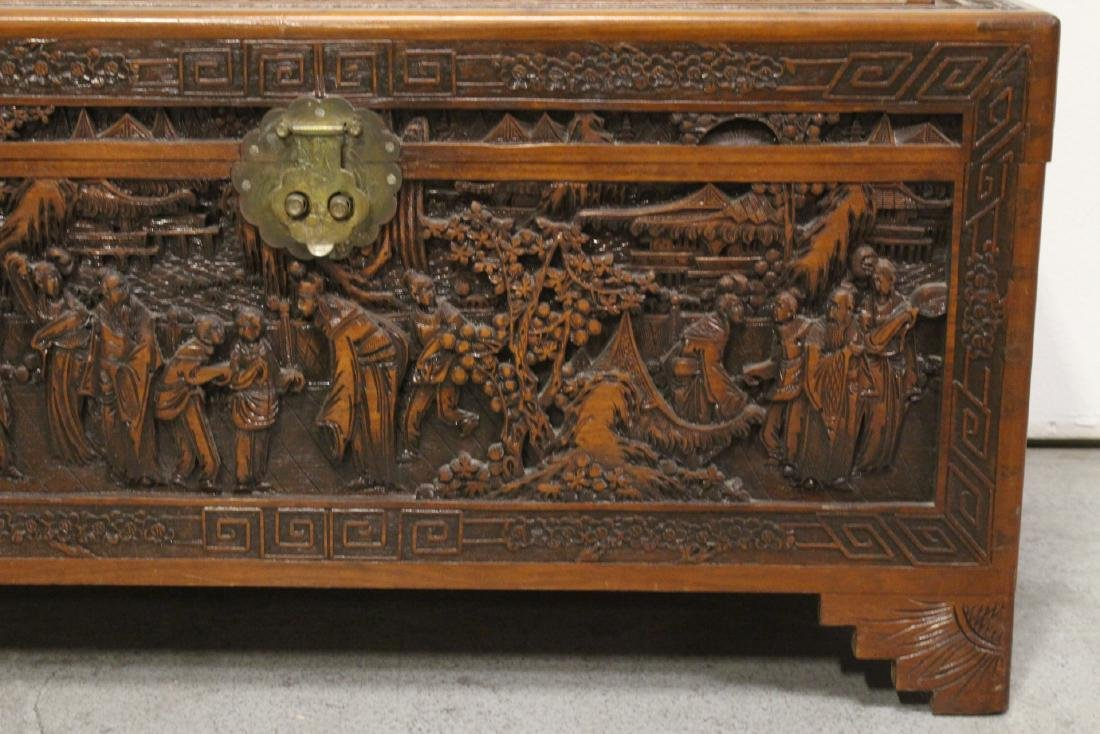 Antique Chinese carved camphor wood trunk - 6