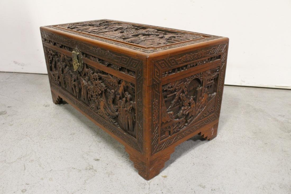 Antique Chinese carved camphor wood trunk - 7