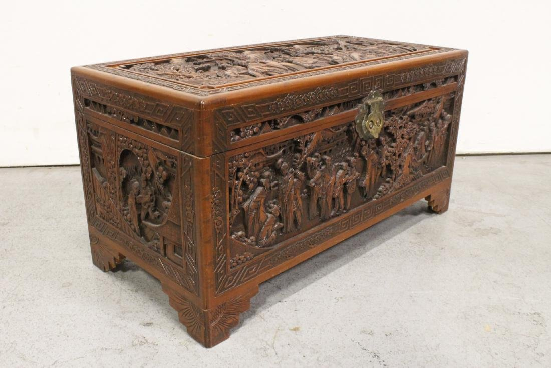 Antique Chinese carved camphor wood trunk - 8