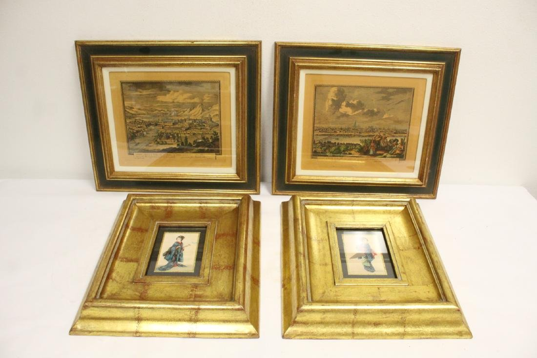 2 Japanese prints, and 2 antique European prints