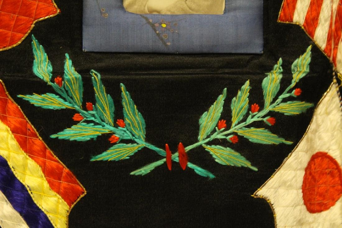 Interesting embroidery panel with picture, dated - 7