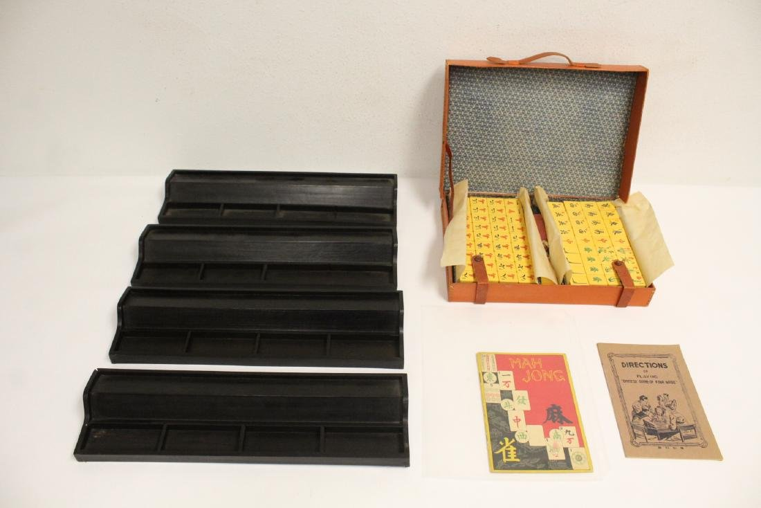 Chinese mahjong set with accessories