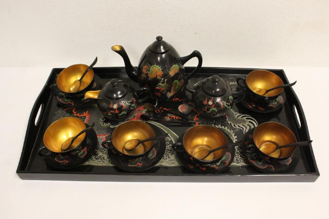 16 pieces Chinese Fuzhou lacquer set with tray