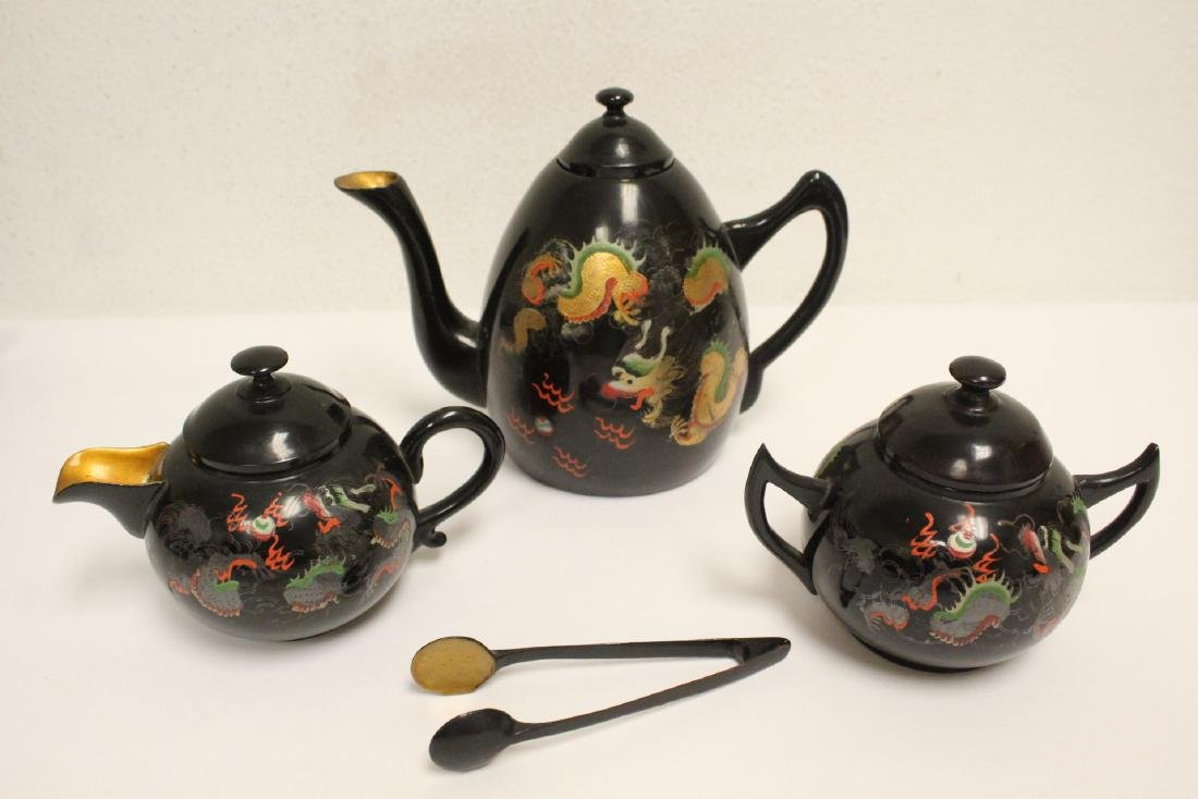 16 pieces Chinese Fuzhou lacquer set with tray - 2