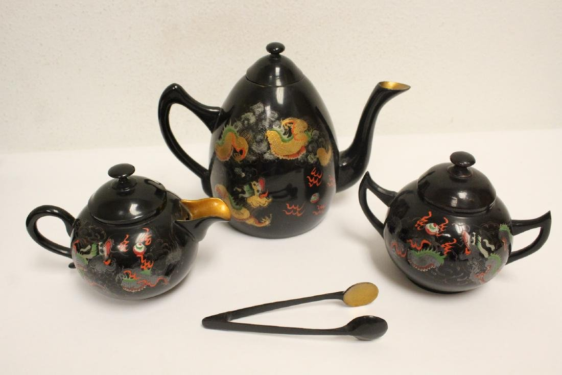 16 pieces Chinese Fuzhou lacquer set with tray - 3