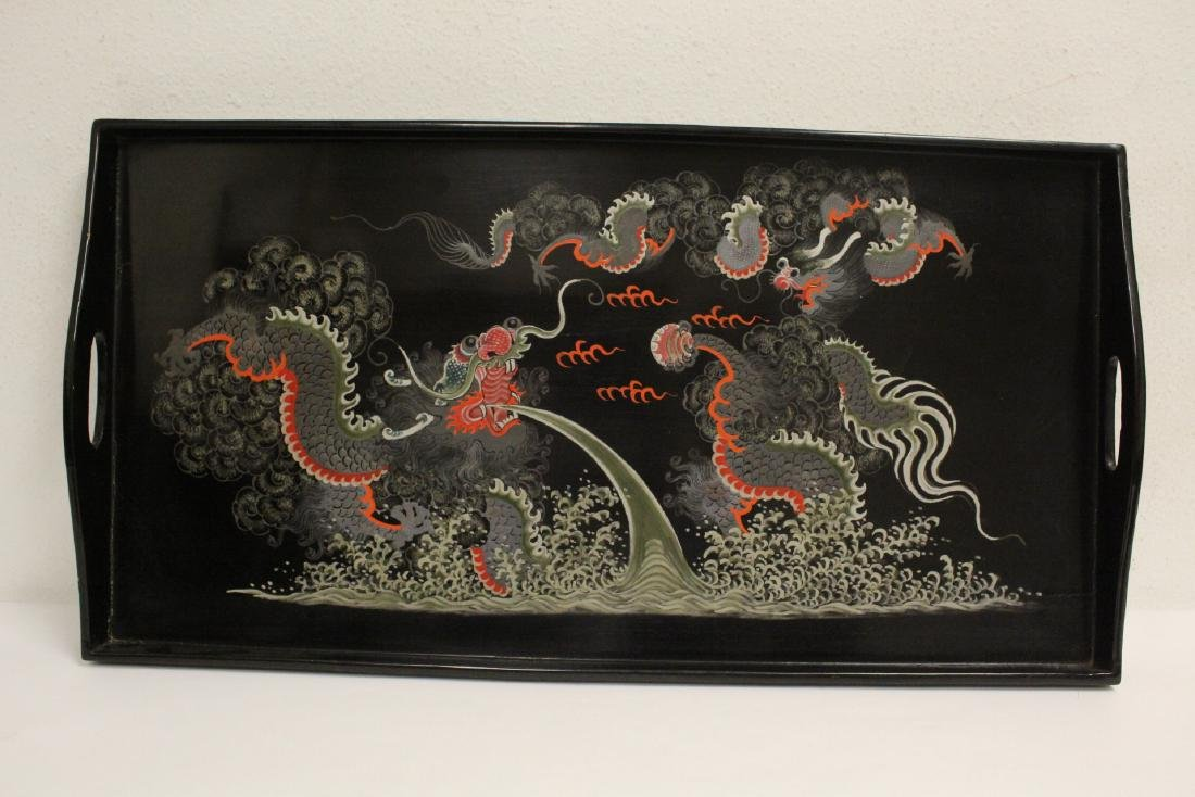 16 pieces Chinese Fuzhou lacquer set with tray - 4