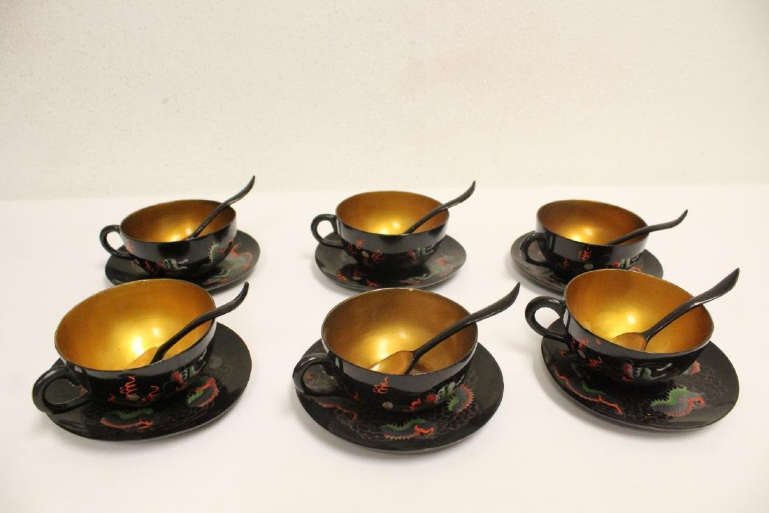 16 pieces Chinese Fuzhou lacquer set with tray - 6