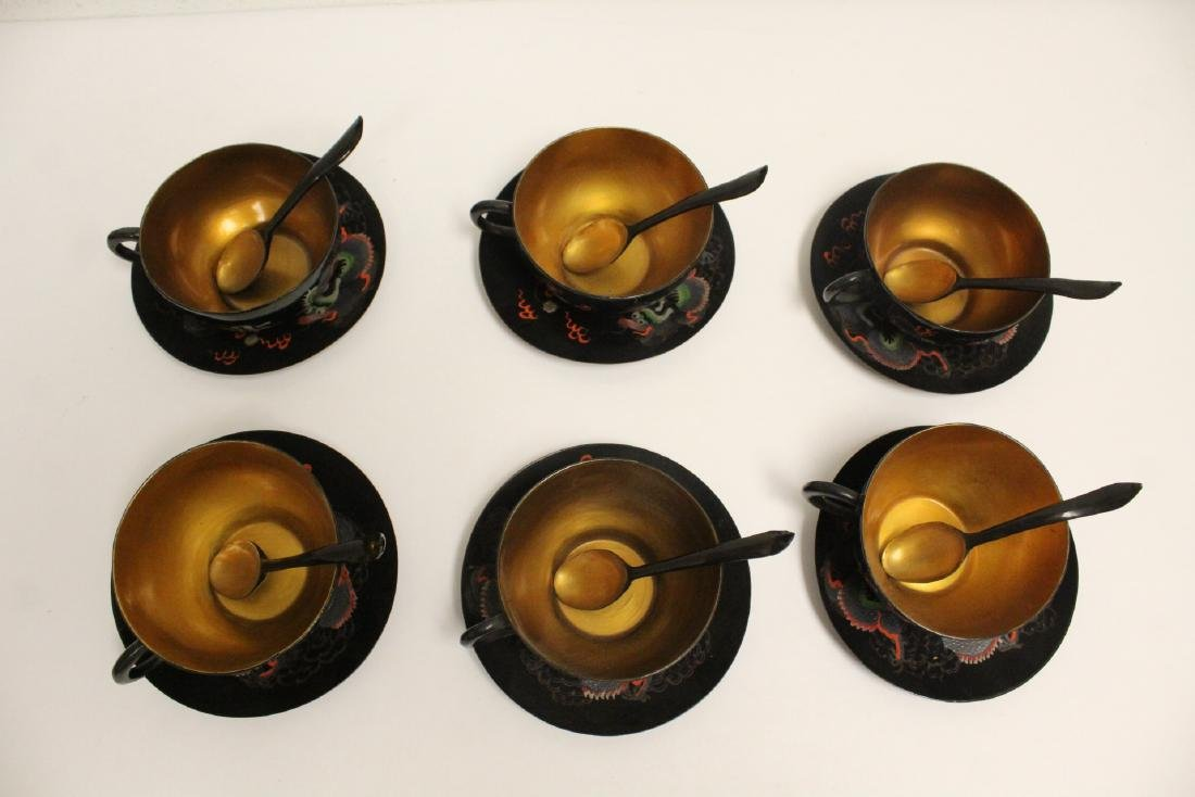 16 pieces Chinese Fuzhou lacquer set with tray - 7